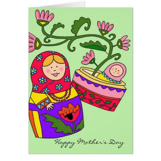 Happy Mother's Day Matryoshka Ukrainian Folk Art Card