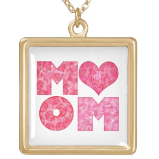 Happy Mother's Day Mom Alphabet Gold Plated Necklace
