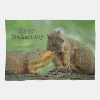 Happy Mother's Day - Mom and Baby Squirrel Hand Towels