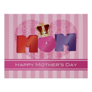 Happy Mother's Day MOM Jewel Crown Poster