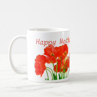 Happy Mother's Day Mom White Mug Tulips Fine Gift