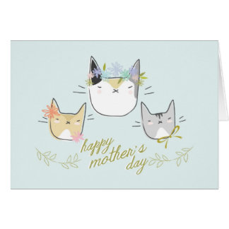 """Happy Mother's Day"" Mother Cat & Kittens Card"