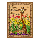 Happy Mother's Day, Mothering Sunday with Giraffe Greeting Card