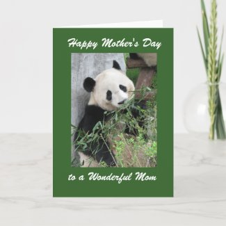 Happy Mother's Day Mum Greeting Card Panda Green