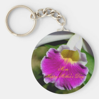 Happy Mother's Day Orchid Flower Keychain