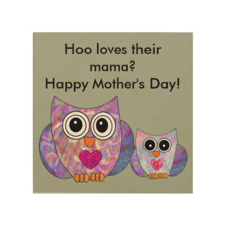 Happy Mother's Day Owl Sign Wood Canvases