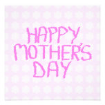 Happy Mothers Day. Pink Flower Pattern Announcements