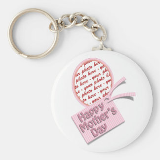 Happy Mother's Day Pink Oval Photo Frame Key Chain
