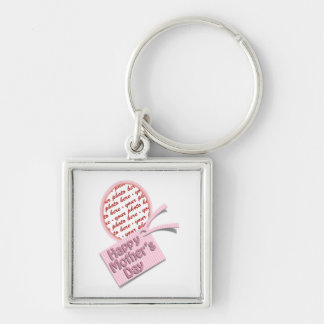 Happy Mother's Day Pink Oval Photo Frame Keychain