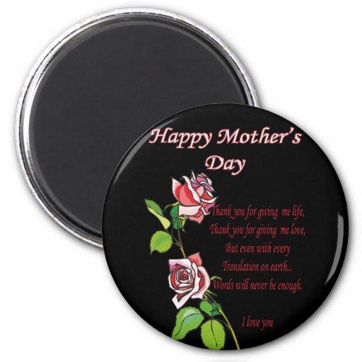Happy Mother's Day Poem 6 Cm Round Magnet