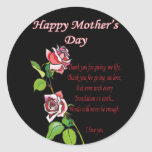 Happy Mother's Day Poem Classic Round Sticker
