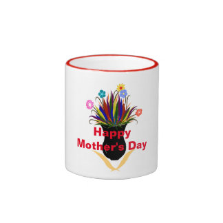 Happy Mother's Day Pretty Flowers Black Vase Ringer Coffee Mug