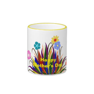 Happy Mother's Day Pretty Flowers Feathers Mug Ringer Mug