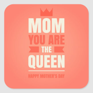 Happy Mother's Day Queen Style Square Sticker