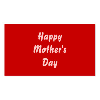 Happy Mothers Day. Red and Pink. Custom Business Card Template