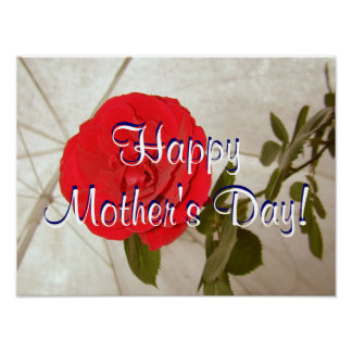 Happy Mother's Day Red Rose Poster