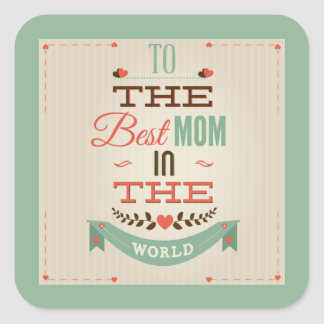 Happy Mother's Day Retro Greeting Square Sticker