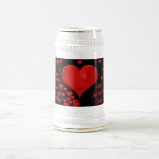 Happy Mother's Day Romantic Sweet Love Hearts Beer Stein