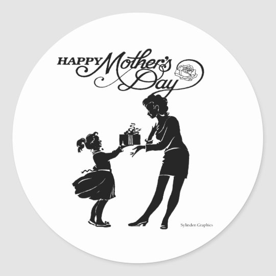Happy Mothers Day Silhouette Sticker