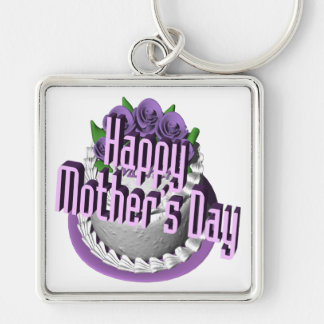 Happy Mothers Day Silver-Colored Square Key Ring