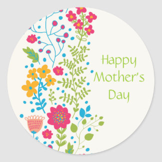 Happy Mother's Day Spring Flowers Classic Round Sticker