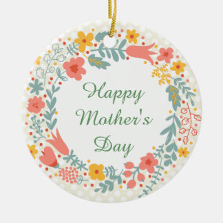 Happy Mother's Day Spring Flowers Round Ceramic Decoration
