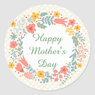 Happy Mother's Day Spring Flowers Round Sticker
