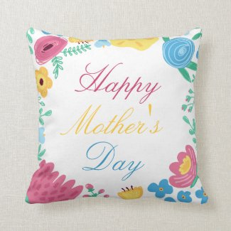 Happy Mother's Day Spring Flowers Throw Pillow Throw Cushions