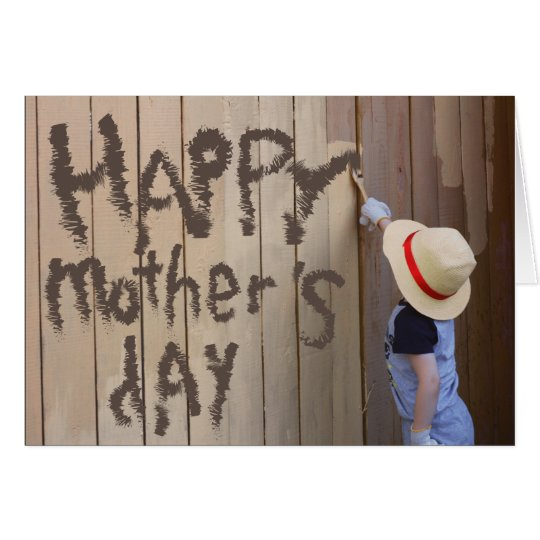 Happy Mothers Day Sunhat Boy Painting Fence Card