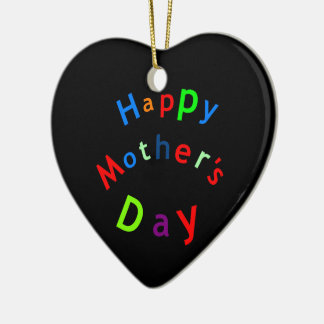 Happy Mothers Day Text Ceramic Heart Decoration