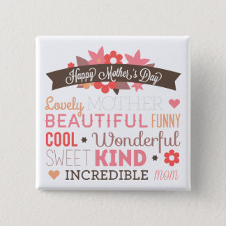 Happy mother's day text design 15 cm square badge