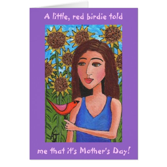 Happy Mother's Day & the little, red birdie - card