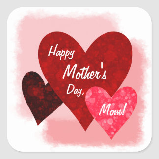 Happy Mother's Day Three Hearts Circles 2 Square Sticker