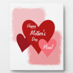 Happy Mother's Day Three Hearts Display Plaque