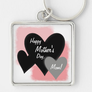 Happy Mother's Day Three Hearts Noir Silver-Colored Square Key Ring