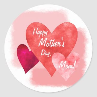 Happy Mother's Day Three Hearts Painterly Classic Round Sticker
