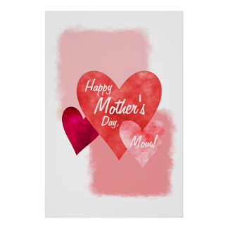 Happy Mother's Day Three Hearts Painterly Poster