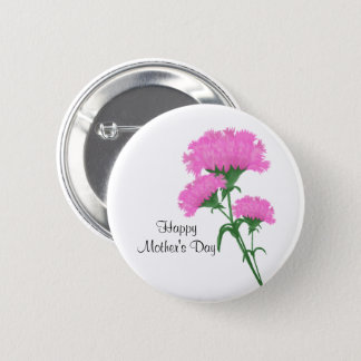 """""""Happy Mother's Day"""" Three Pink Carnations 6 Cm Round Badge"""