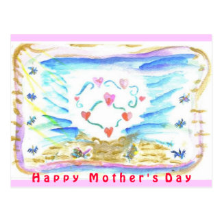 Happy Mother's Day triple heart Postcards