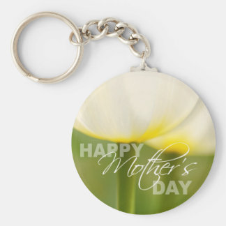 Happy Mother's Day Tulips Basic Round Button Key Ring