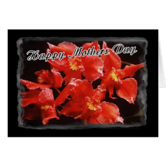 Happy Mothers Day Wet Orchids Greeting Card