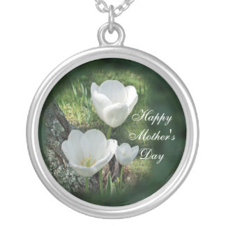 Happy Mother's Day White Tulips Round Pendant Necklace