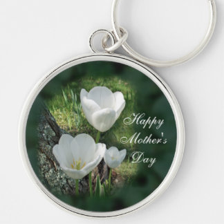 Happy Mother's Day White Tulips Silver-Colored Round Key Ring