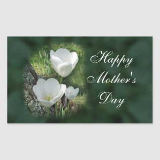 Happy Mother's Day White Tulips Rectangle Sticker