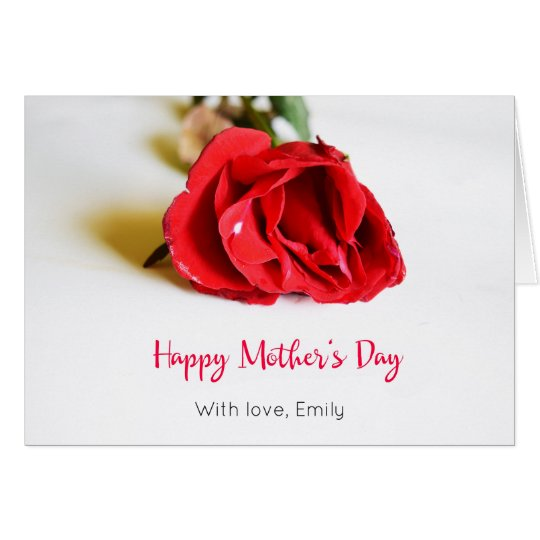 Happy Mother's Day with a Single Red Rose