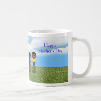 Happy Mother's Day with African American children Basic White Mug