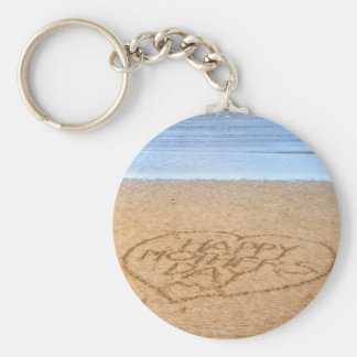 Happy Mother's Day with Love Heart in the Sand Keychains