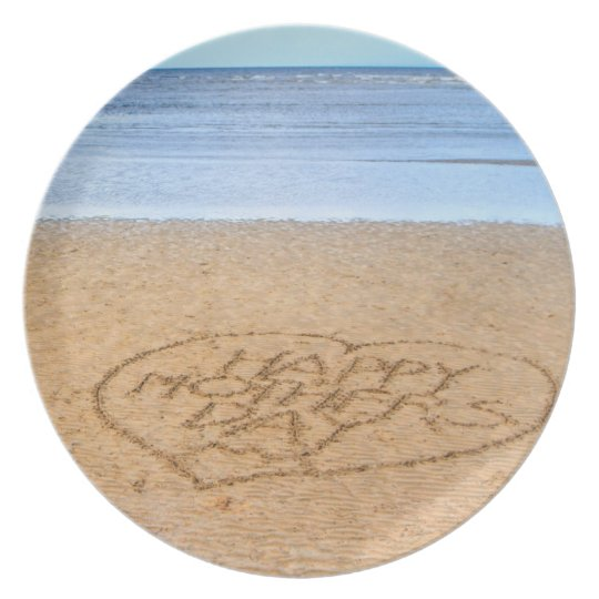 Happy Mother's Day with Love Heart in the Sand Plate