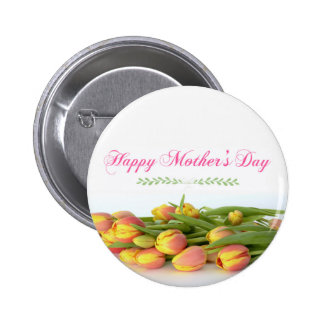 Happy Mother's Day with Yellow and Orange Tulips 6 Cm Round Badge
