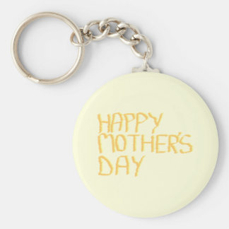 Happy Mothers Day. Yellow. Basic Round Button Key Ring